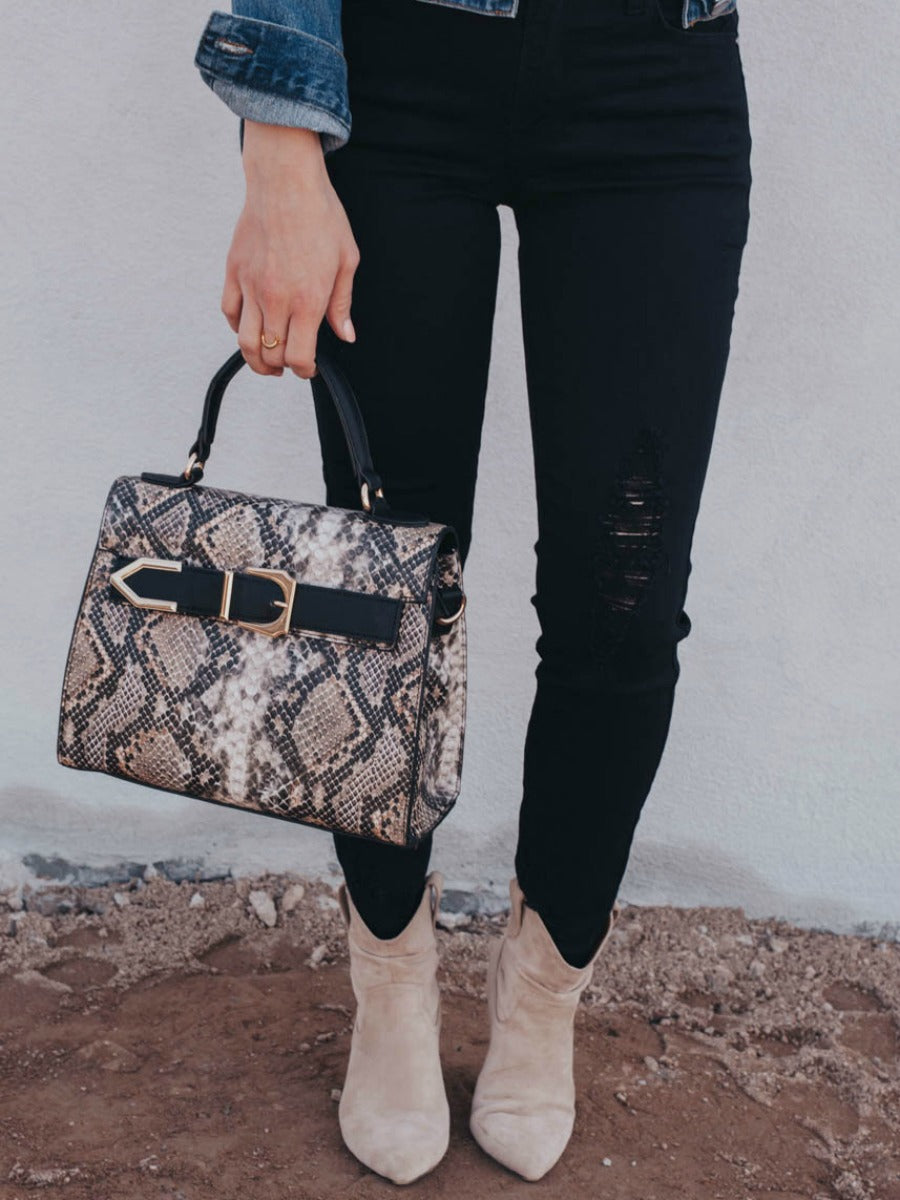Buckle Up Snake Print Handbag