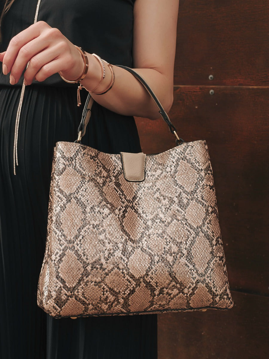 Gorgeous Metallic Snake Print Bag