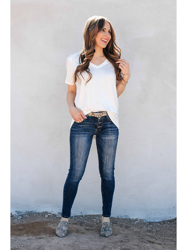 Skinny Basic Button Down Jeans