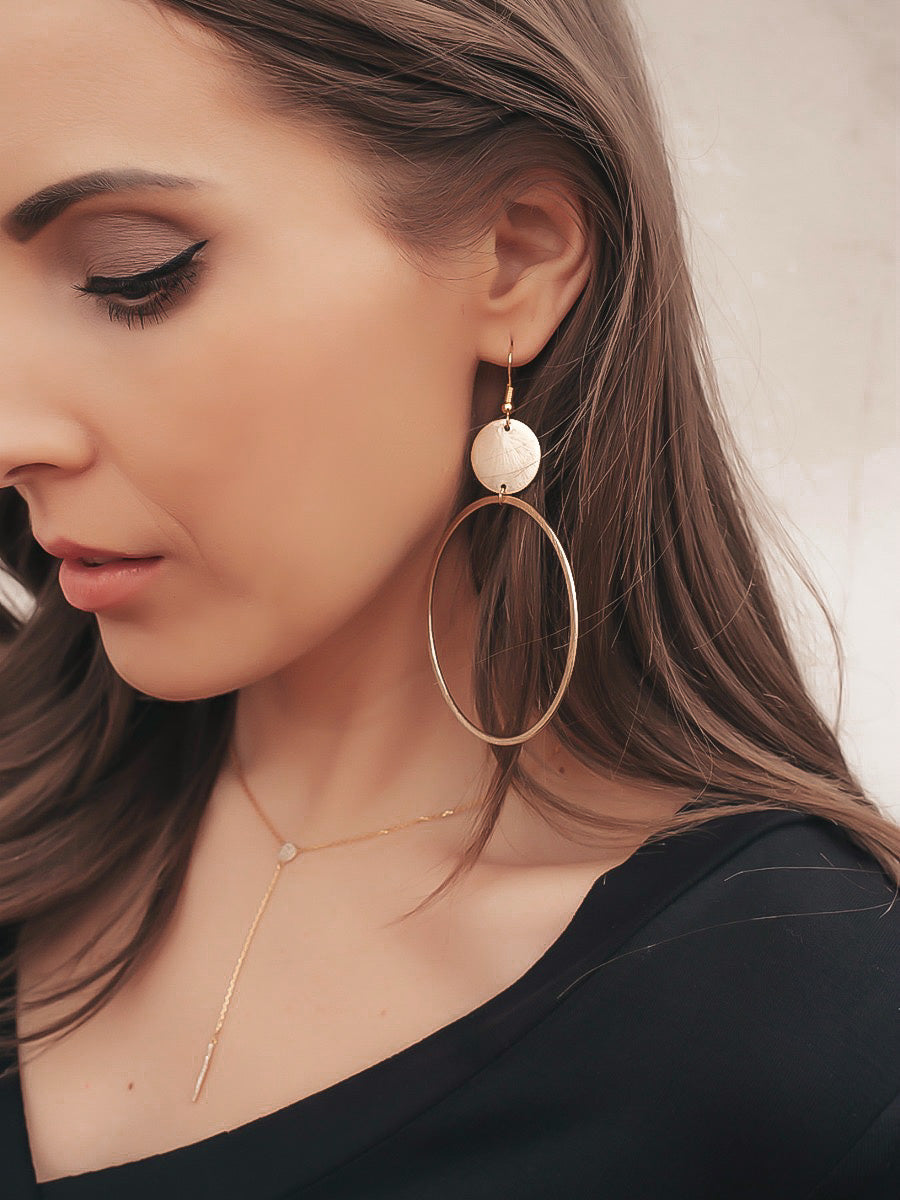 Brushed Metal Golden Hoop Earrings with Circle