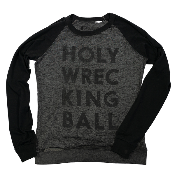 Grey Holy Wrecking Ball Baseball Tee