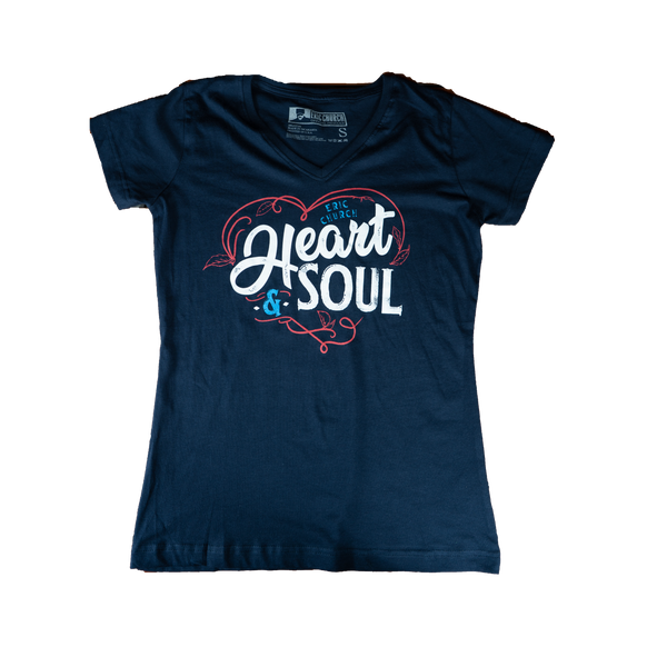 Heart & Soul Ladies V-Neck T-Shirt - Navy