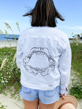 Load image into Gallery viewer, Jaws Outline White Denim Jacket