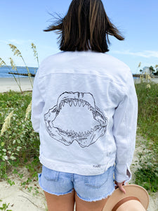 Jaws Outline White Denim Jacket