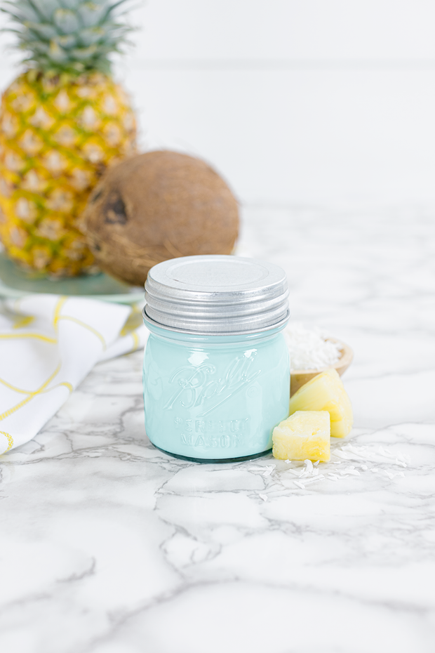 Pineapple Coconut 8 oz blue jar candle