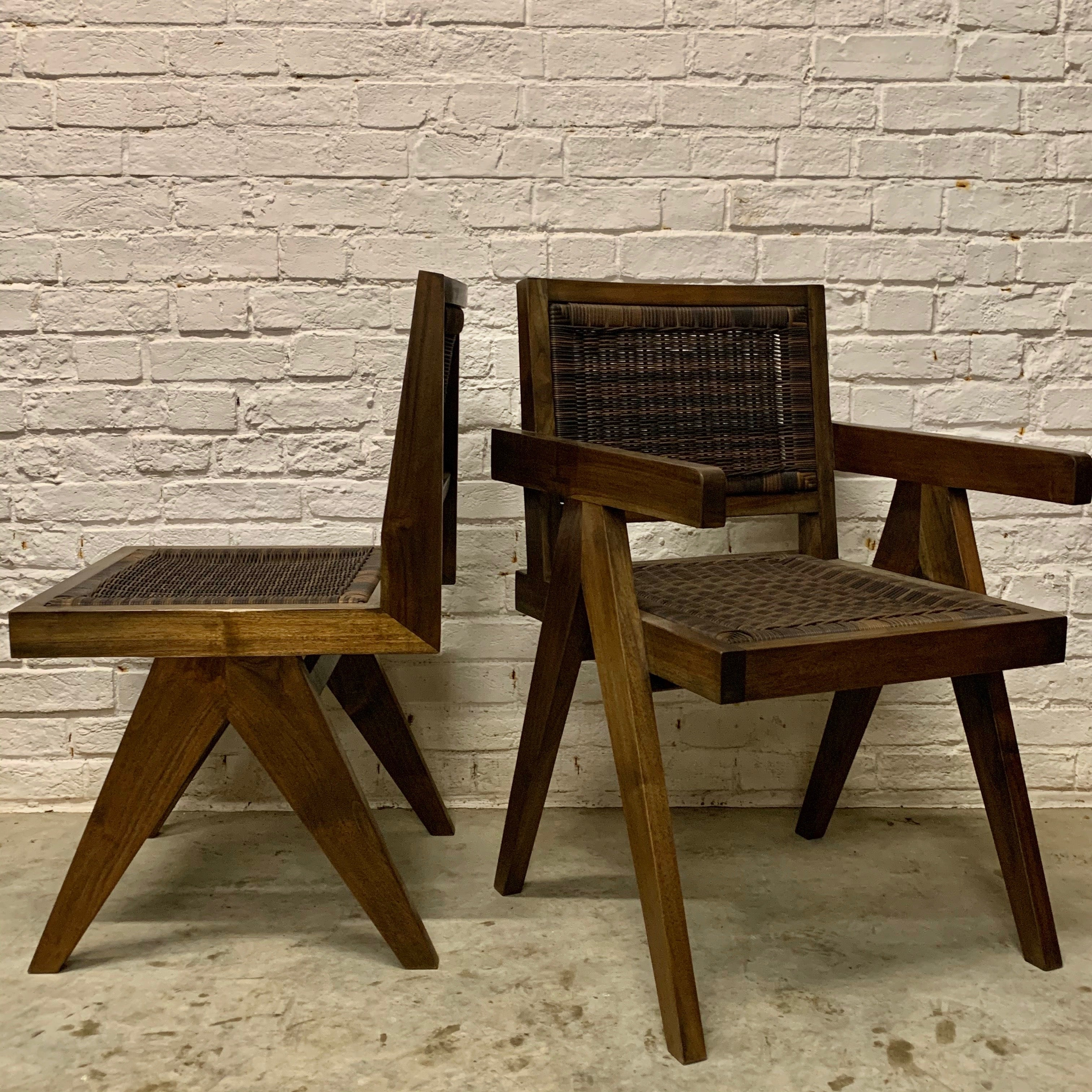 TEAK AND WICKER DINING CHAIR