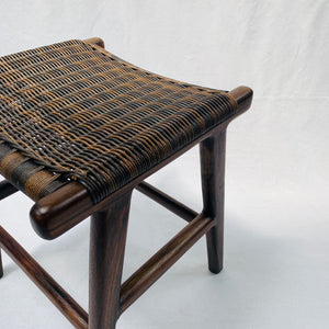 DARK WOOD WITH DARK RATTAN LOOK SEAT