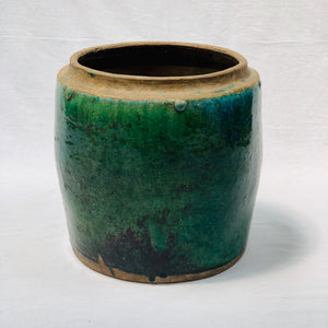 VINTAGE INDONESIAN LARGE GLAZED CERAMIC POT