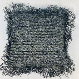 BLACK RAFFIA CUSHION COVER