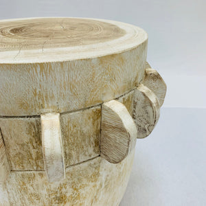 WHITE WASH WOODEN ETHNIC STOOL