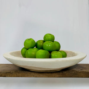 WHITE WOODEN ROUND BOWL