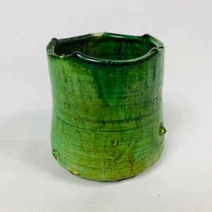 SMALL GREEN GLAZED TERRACOTTA POT