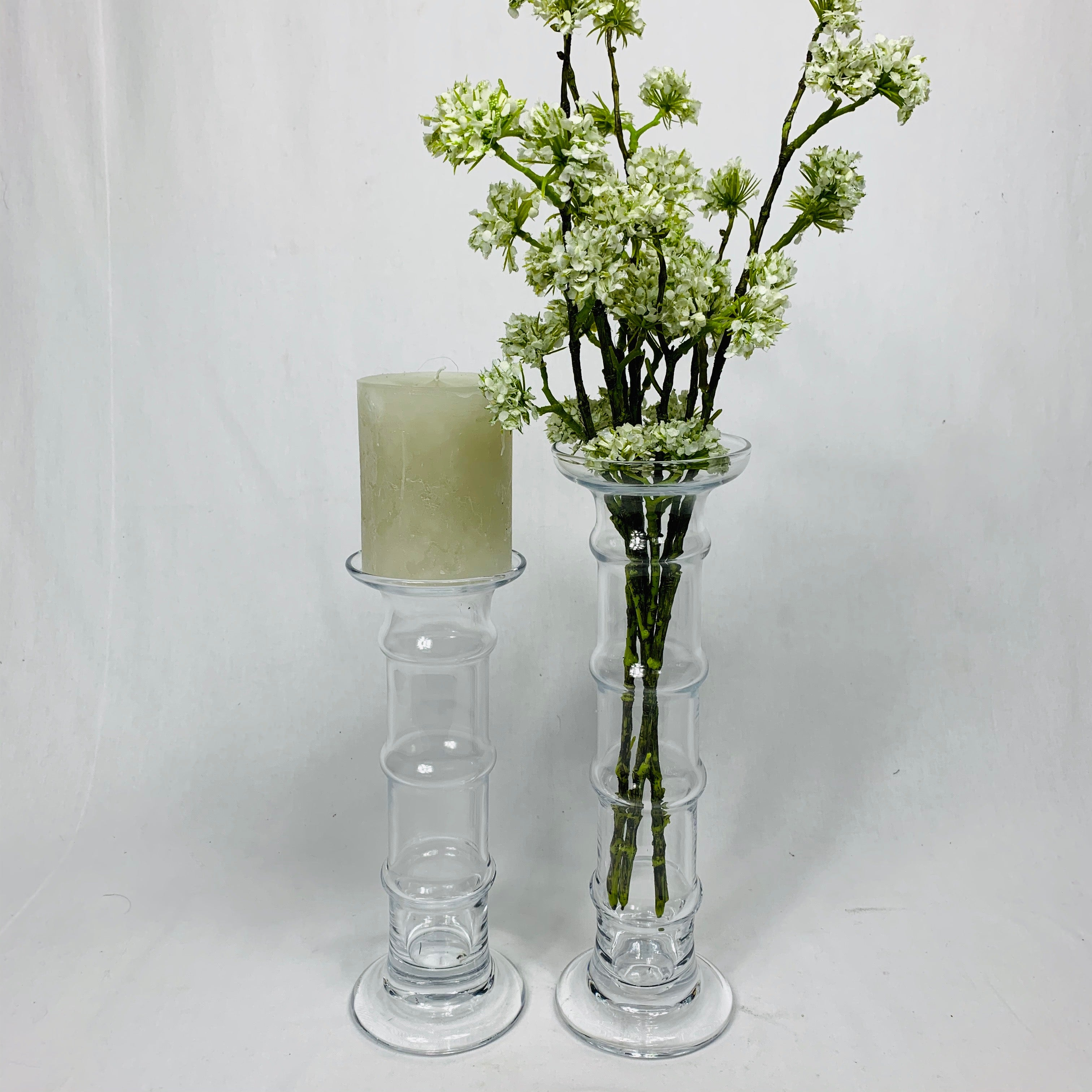 LARGE GLASS VASE-CANDLE HOLDER
