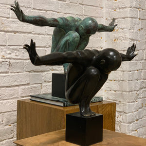 DARK BRONZED GYMNASTIC FIGURE