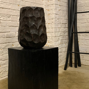 DARK HANDCRAFTED WOODEN VASE