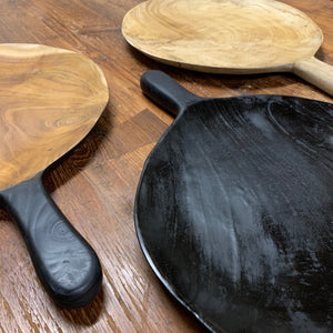 LARGE BLACK WOODEN PLATTER