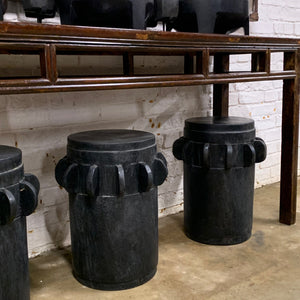 BLACK WOODEN STOOL