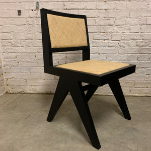 TEAK AND RATTAN CHAIR