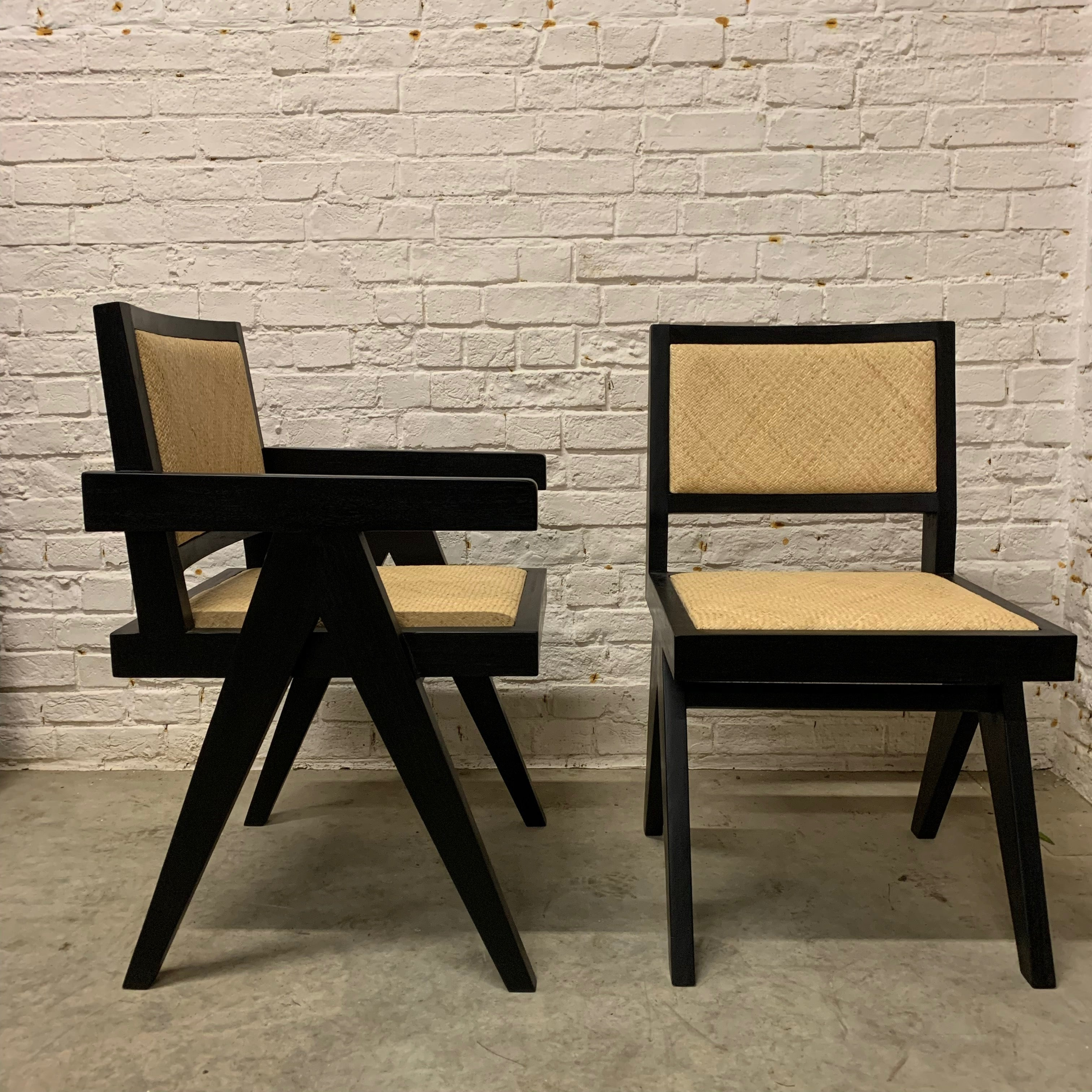 TEAK AND RATTEN DINING CHAIR