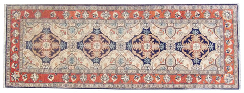 Image of Tribal Super Kazak Natural-dye Hand-knotted 2.6x8 Wool W1113