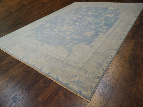 Image of Name: Fine Oushak White Wash Natural-dye Size: 9' x 12' Color: Blue Construction: Hand-knotted Rug