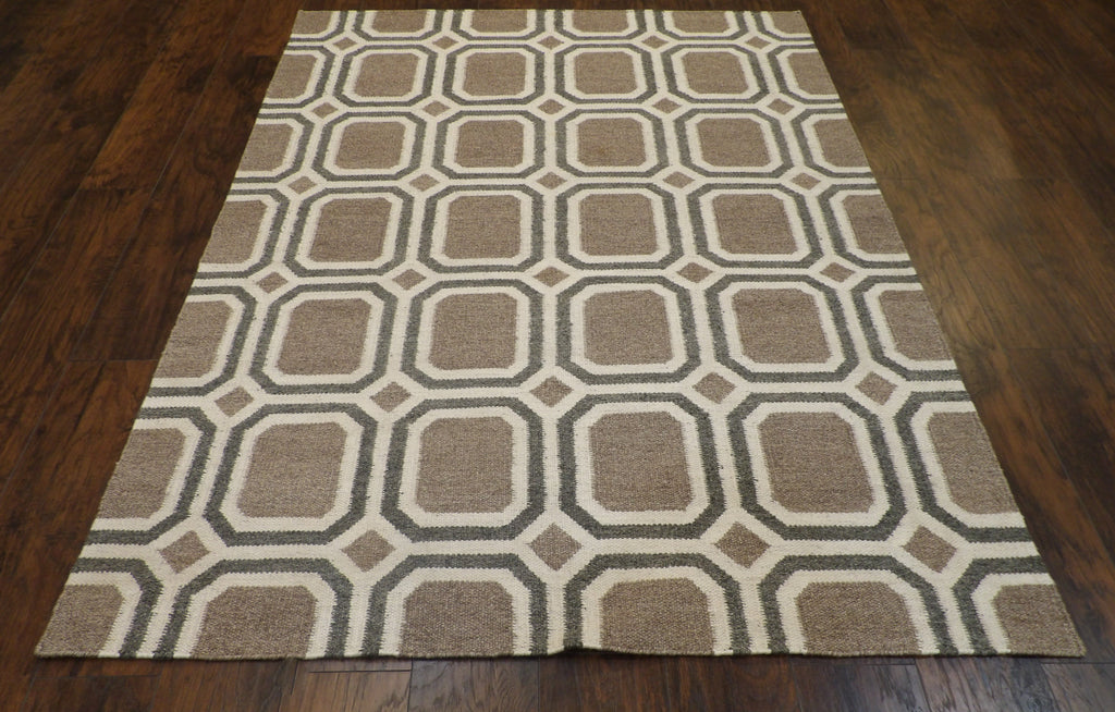 Coastal Flat-Weave Indoor/Outdoor Beach Hand-knotted 5ft x 8ft Wool W11134