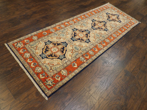 "Name: Tribal Super Kazak Natural-dye Size: 2' 6"" x 8' Color: Blue Construction: Hand-knotted Rug"