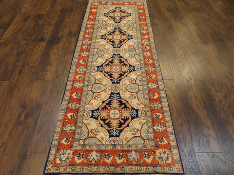 Tribal Super Kazak Vege Dye Hand-Knotted 2.6x8 Wool W1113