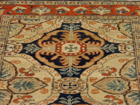 "Image of Name: Tribal Super Kazak Natural-dye Size: 2' 6"" x 8' Color: Blue Construction: Hand-knotted Rug"