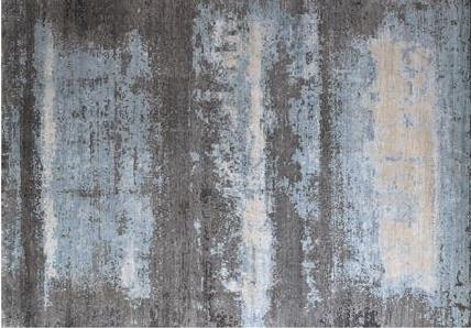 Image of Name: Modern Tibetan Design Color: Blue Construction: Hand-knotted Rug