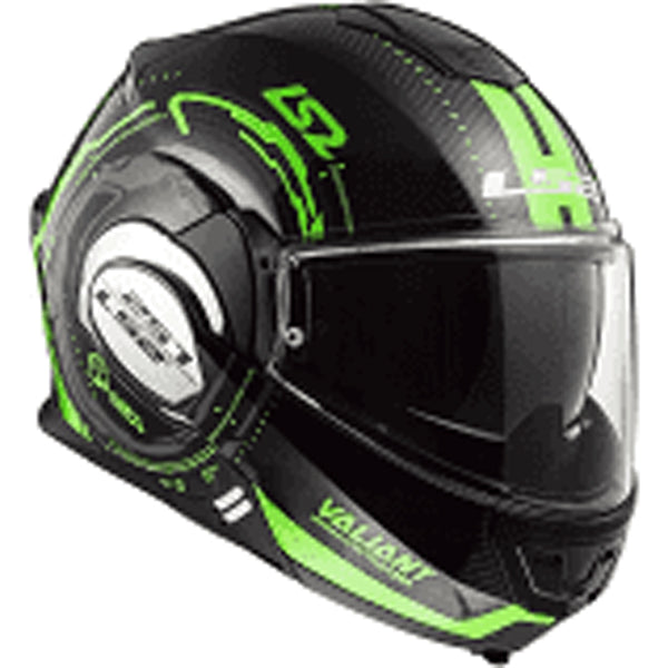 Casco abatible LS2 Valiant 180 degrees negro/verde