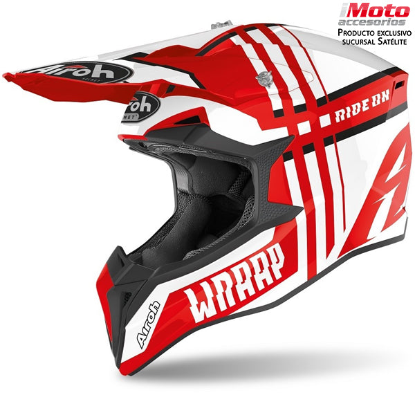 CASCO AIROH WRAPP - BROKEN RED GLOSS