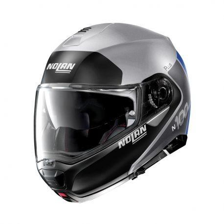 CASCO N100-5 PLUS DISTINCTIVE N-COM 30 PLATA MATE/NGO/AZUL NOLAN