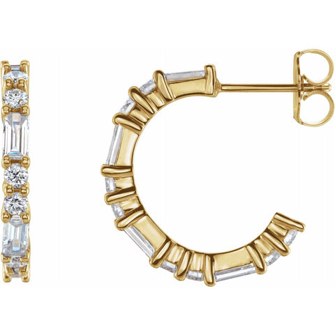 Diamond Baguette J-Hoops