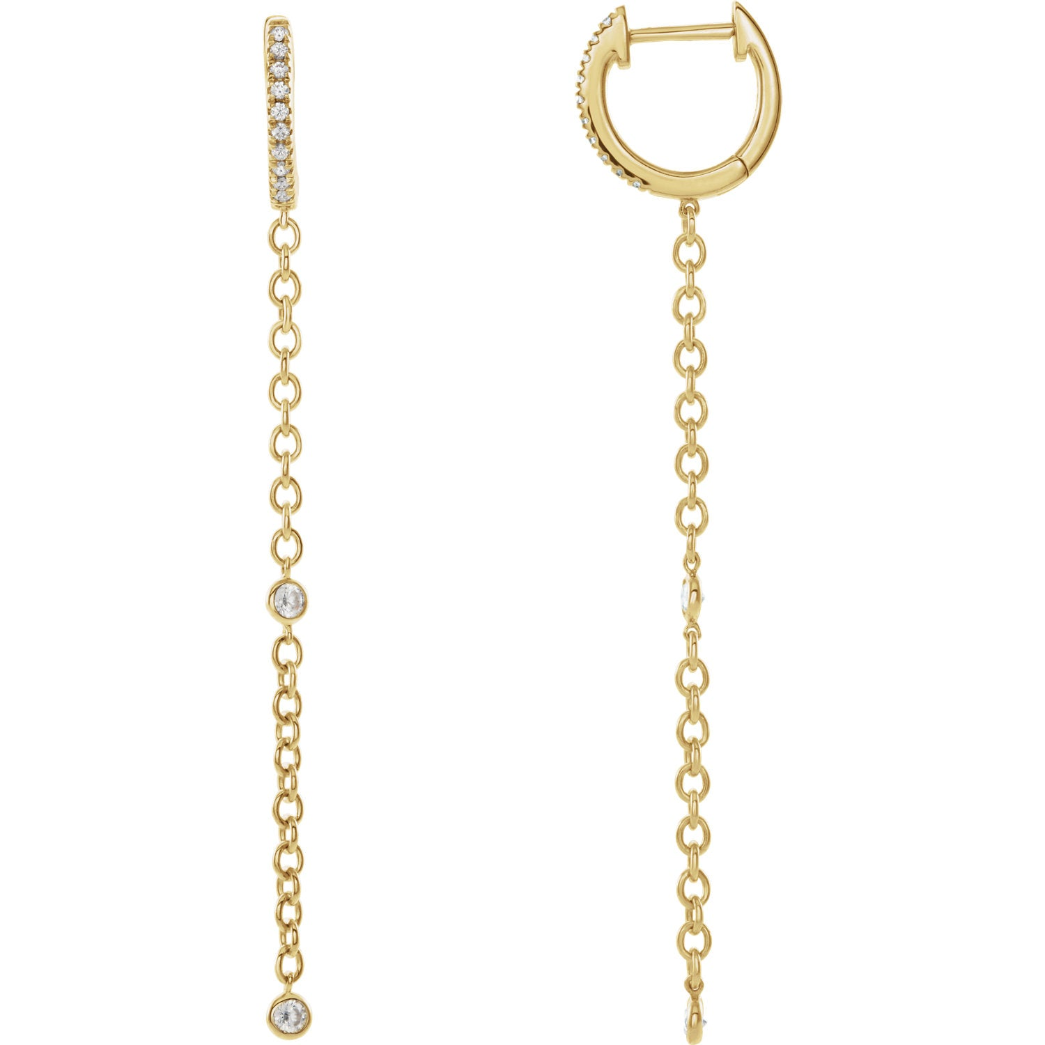 Diamond Hoop + Chain Earrings
