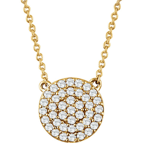 Round Diamond Cluster Necklace