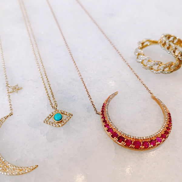 Ruby + Diamond Crescent Necklace