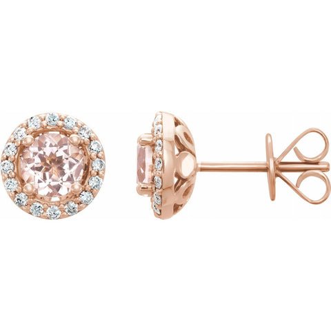 Morganite + Diamond Halo Studs