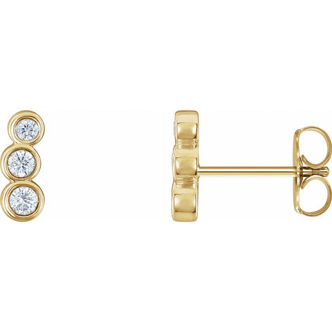 Petite Three Stone Diamond Ear Climbers