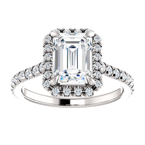 Emerald Cut + Halo Engagement Ring