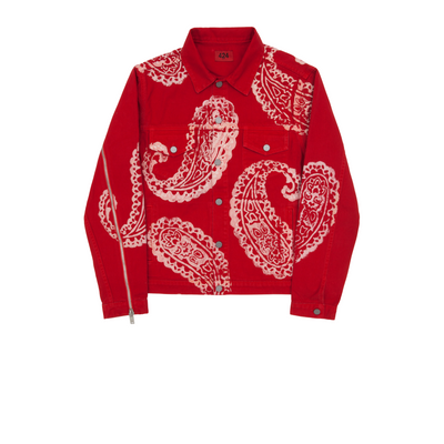 424 Red Paisley Denim Trucker Jacket FW17 - Rerun Toronto