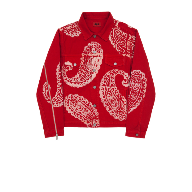 424 Red Paisley Denim Trucker Jacket FW17