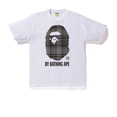 Bape Grey Check Ape Head Tee White - Rerun Toronto