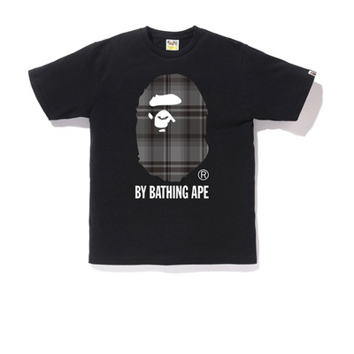Bape Grey Check Ape Head Tee Black - Rerun Toronto