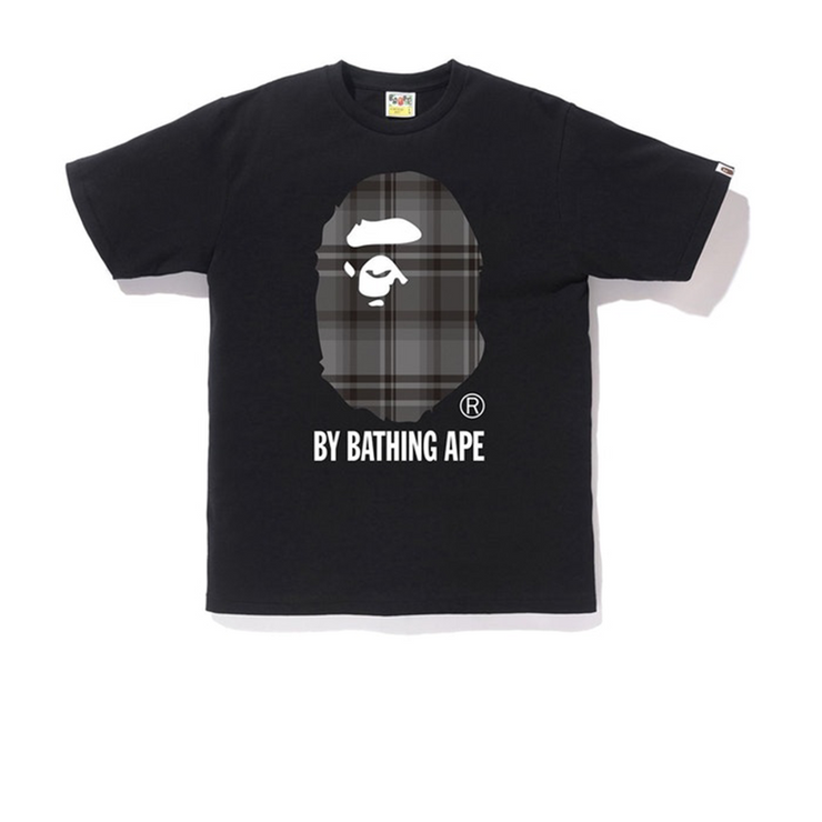 Bape Grey Check Ape Head Tee Black