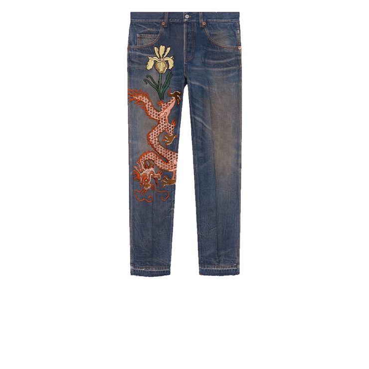 Gucci Embroidered Dragon Stone Washed Jeans