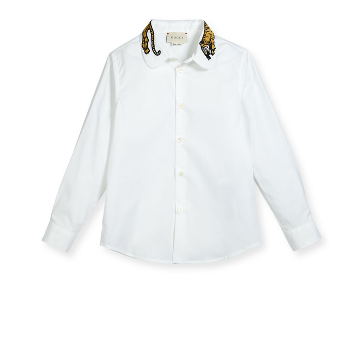 Gucci Embroidered Tiger Dress Shirt
