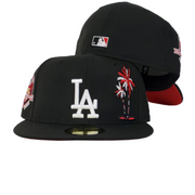 Los Angeles Dodgers Black Red Bottom 50th Anniversary PalmTree New Era 59Fifty Fitted