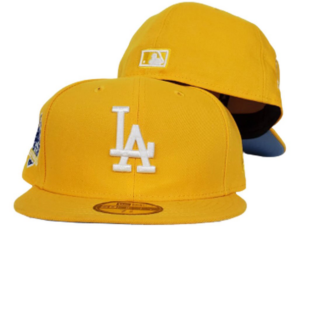 Los Angeles Dodgers Taxi Yellow Icy Blue 60th Anniversary New Era 59Fifty Fitted
