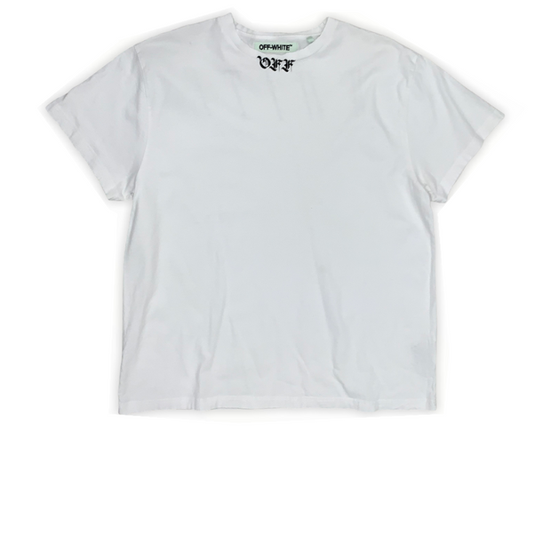 Off White Neck Logo Tee White